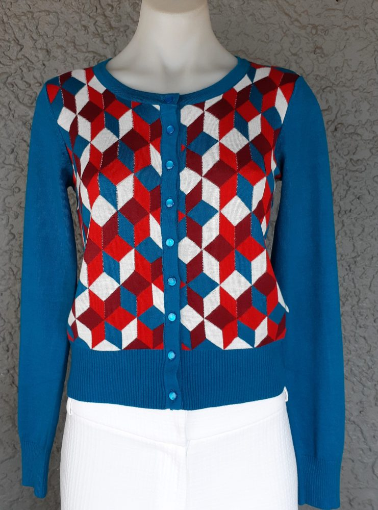 Banned Apparel Midnight Daze  Vintage Retro 50s Knitted Pattern Cardigan