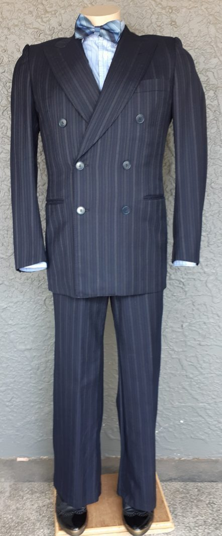 1960's Navy Pinstriped 2 pc suit by 'Cerruti' size XS
