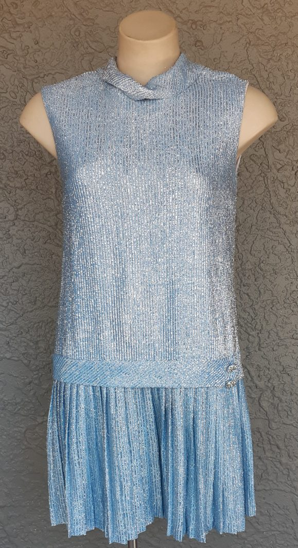 'Throughly Modern Millie' inspired lurex baby blue dress, by 'Eve Le Croq of California' size 12