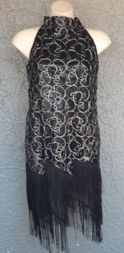1920's inspired Charleston Flapper dress, black sequined, high neck with fringing, size 14