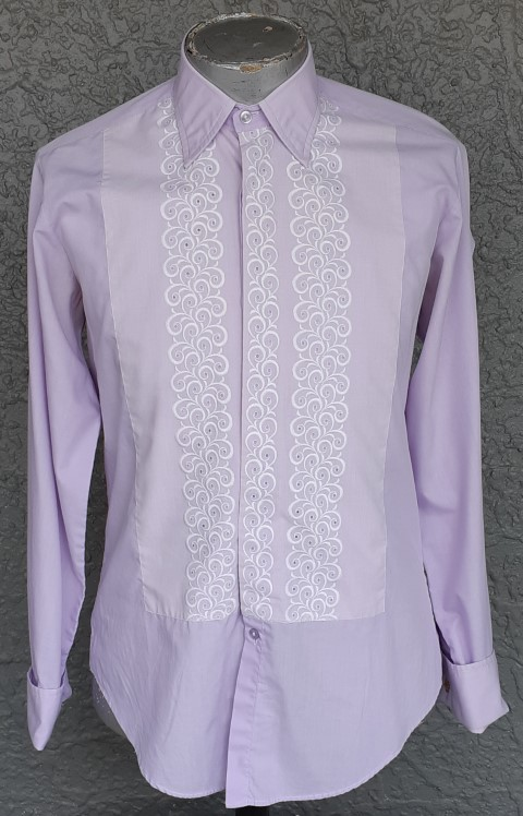 1960's Dinner shirt, embroidered front, poly/cotton by 'Dee-Hill, size L