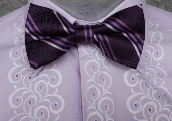 Purple pinstriped Bow tie by 'jon Vandyk', polyester
