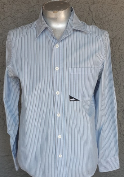 Blue pinstriped poly/cotton shirt by 'Atticus', size M