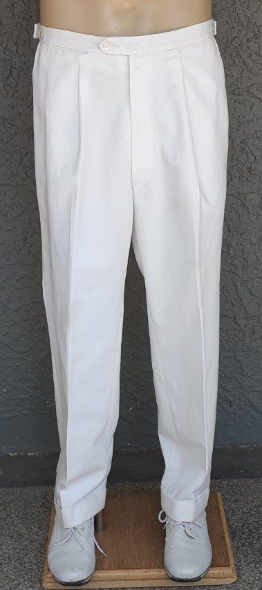 Cream front pleat cuffed pant by 'Varley', terylene, size S