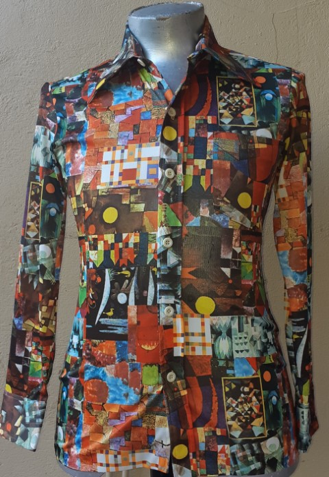 Pop Art 1970's polyester body shirt, USA, by 'Vincent' size XS