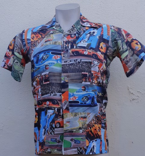 1970's Short sleeved body shirt, Grand Prix print, USA size S
