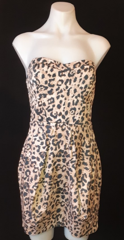 Leopard print strapless cotton tulip skirt mini dress size 6-8