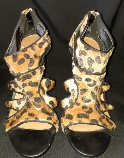 Jaguar print, faux skin high heel/ sandal by 'Corelli' size 10