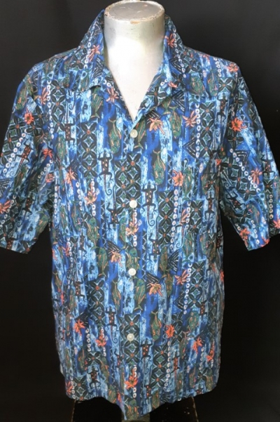 Hawaiian shirt, cotton, Made in Hawaii, blue tones, size 2XL