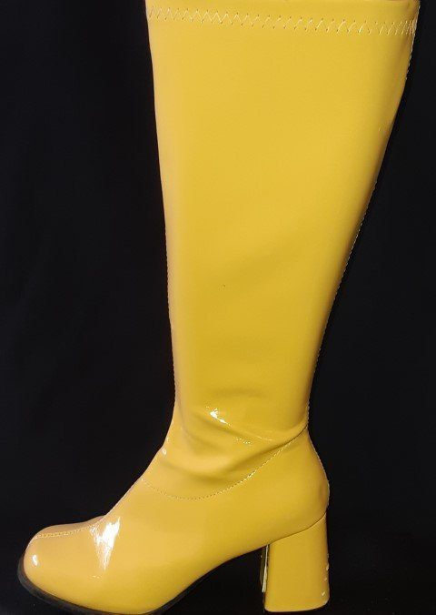 Knee High Boot by 'Elle', PVC, yellow size 8