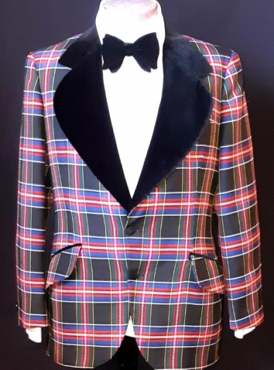 Smoking jacket, Velvet/ polyester, tartan, USA by 'After Six', size L