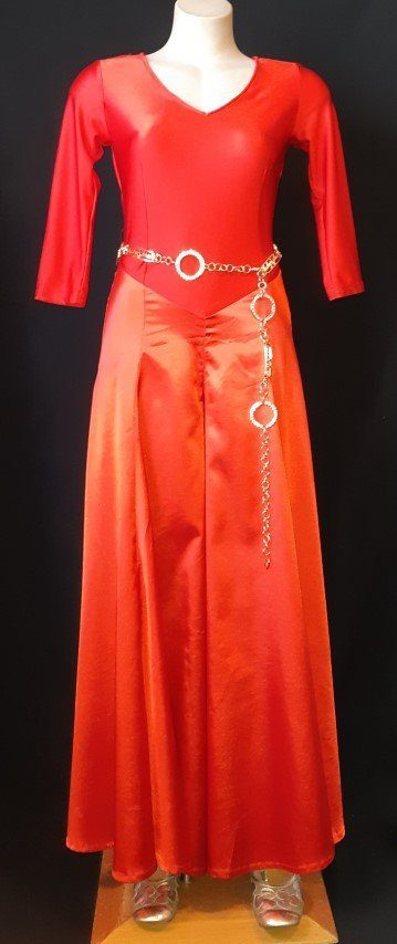 Jumpsuit, Satin/polyester, 1970's, red, size 8-10
