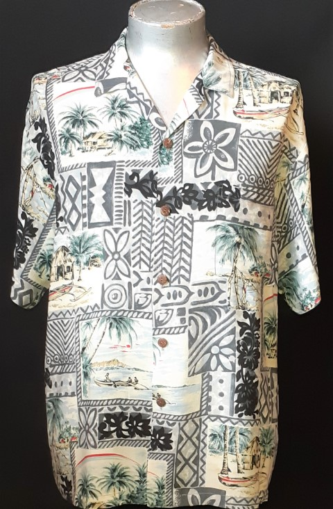 Hawaiian shirt, Tiki Village, by 'Hawaiian Reserve Collection' rayon size L