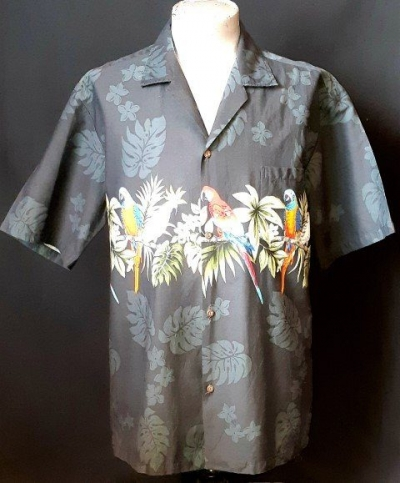 Hawaiian shirt, Black Rio by 'Winnie Fashion', size L-XL