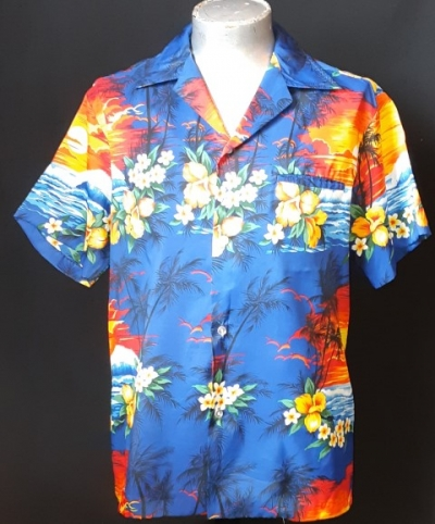 Hawaiian shirt, Ocean Frangipani by 'Rai Nani', nylon, size L