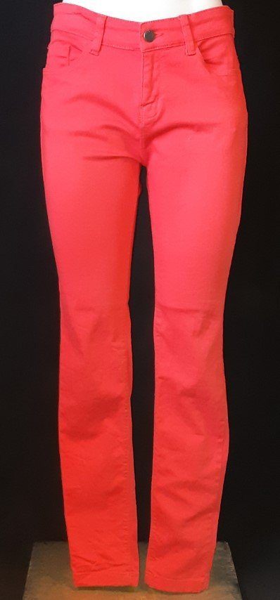 Skinny leg red jeans by 'Hell Bunny', ex-hire.