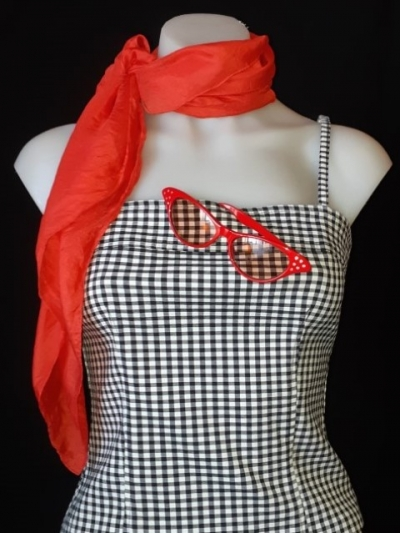 Gingham 50's inpsired shoe string strap top, scarf and sunglasses, size S