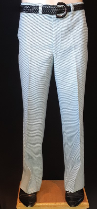 """1960's polyester fine checked pants, USA, size 33"""""""