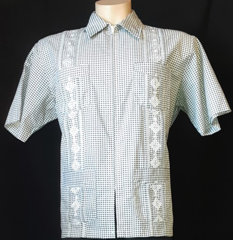 1950's inspired Genuine 'Haband Guayabera' zip front, cotton size 2XL-3XL