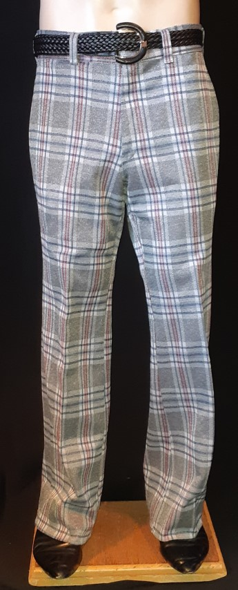 1960's Grey checked golf pants, polyester USA by 'Kings Road', sie 32""