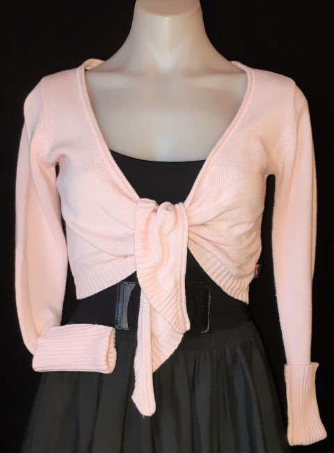 Pink knitted long sleeved Bolero by 'French Kitty', size M
