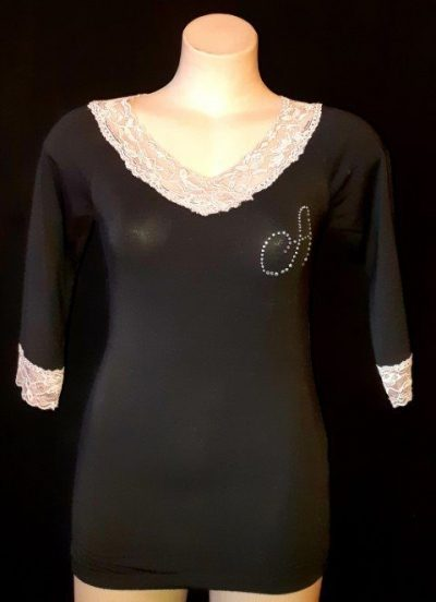 Lace trimmed cotton 3/4 sleeve top, black/pink size S