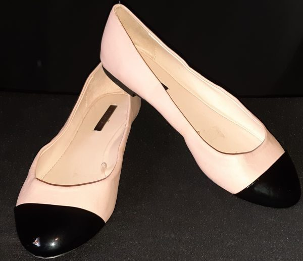Ballet flat, pink/black patent leather by 'Zara Trafaluc', size 38