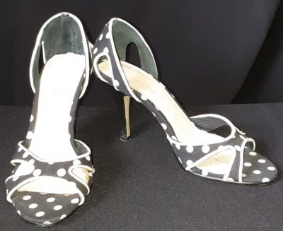Polka-dot print synthetic peep-toe heels by 'Heavenly Days; size 36