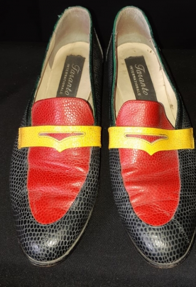 Snake skin leather Multi coloured loafers by 'Taranto Internationale' size 9.5