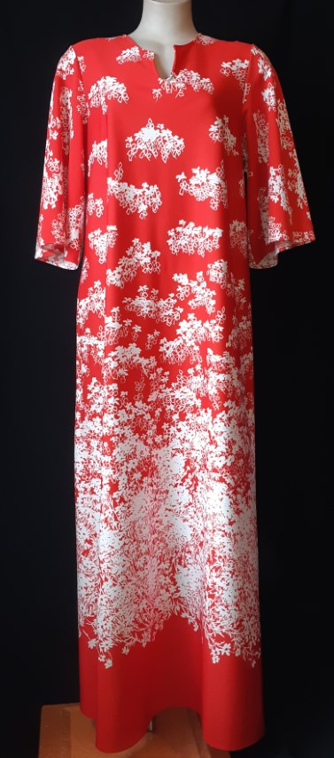 1970's Maxi dress by 'Target', red/white print size 12