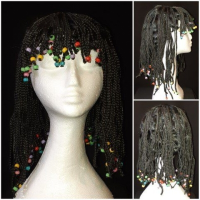 Dreadlocks with beads, Black, synthetic, ex-hire