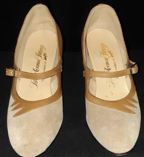 Suede/ leather 1970's Mary Jaynes by 'Imps', caramel, size 6.5 B