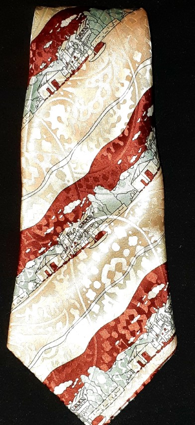 1970's super wide tie, polyester by 'Nostalgic ensign', novelty print