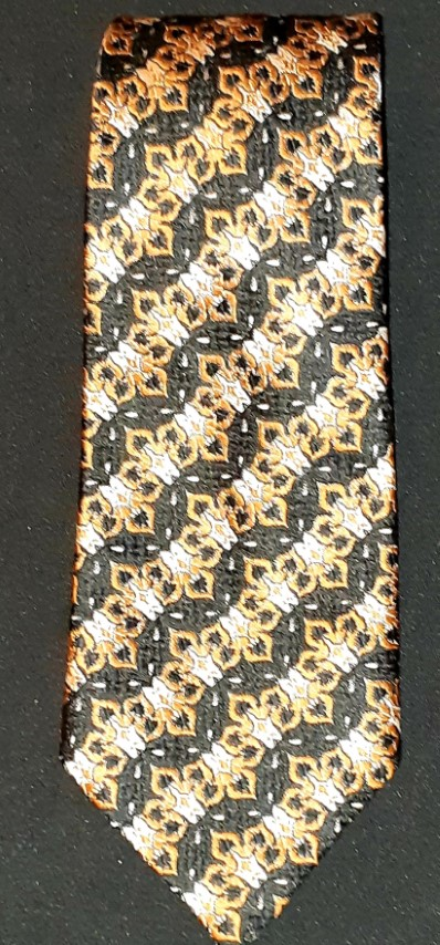 1970's polyester/cotton black/ orange/ white print