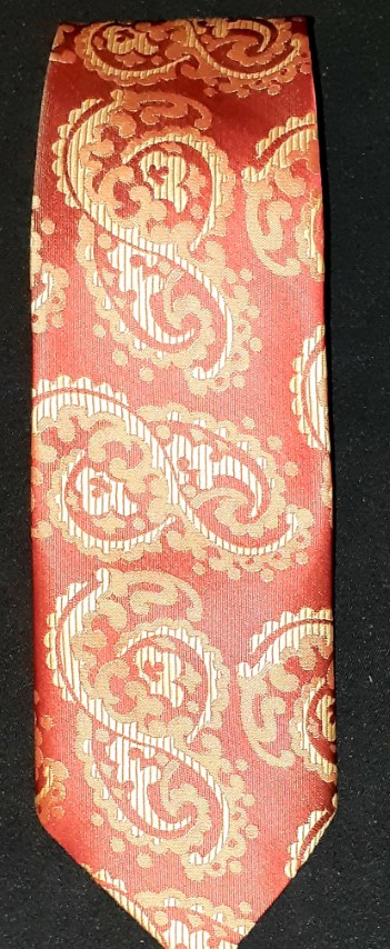 1970's polyester tie, rust paisley print