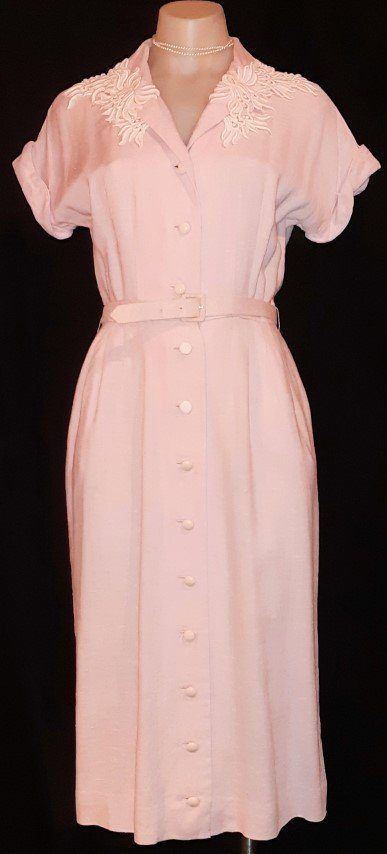 1940's Linen Shirtmaker day dress, pale pink, size 8