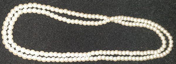 Fine pearl look plastic beads, 65cm, cream