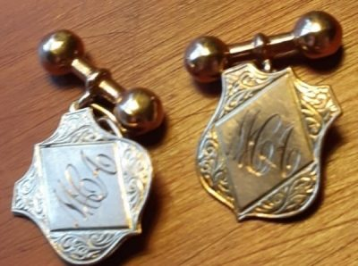 Gold Cufflinks, 9ct HP, Art Deco, momagrammed, Dumbell chain back.