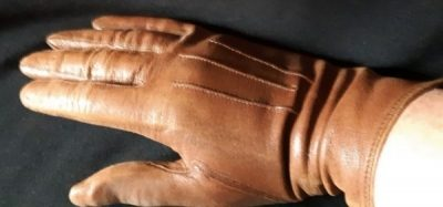 Leather Glove, brown 1970's size XS