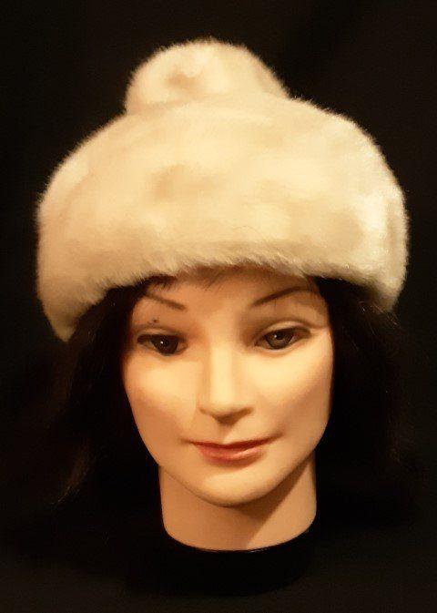 Kozack hat with pom-pom crown, faux fur, 1960's, size XS, 54cm.