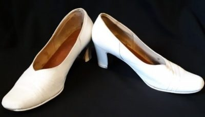 White Leather 1960's Heels szie 9