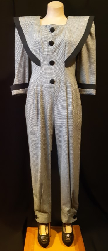 Jumpsuit, 1980's houndstooth, USA by 'First Focus', size 10-12