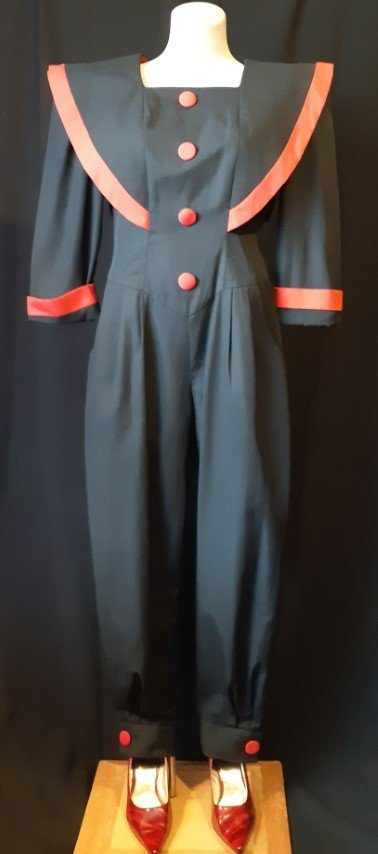 Jumpsuit, 1980's, poly/rayon, black/red, USA by 'First Focus', size 10-12