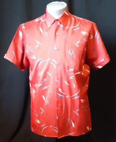 Silky Polyetser Red print short sleeve shirt by 'Boydex', 1980's, size L
