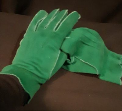 Forest Green 1960's cotton gloves size M
