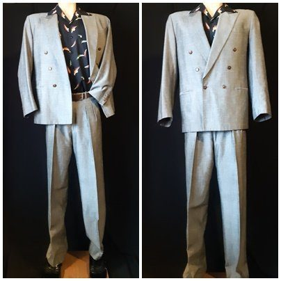 1980's 2pc suit by '7th Avenue', grey poly/rayon, size S-M, 33'' waist.