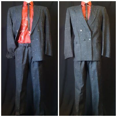 "1980's 2pc suit by 'Mancini', poly/rayon, charcoal, size M, 34"" waist."