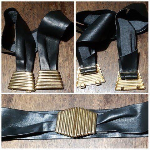 "Black Belt, PVC, metal clip buckle, 1980's, adjustable to 30"" waist"