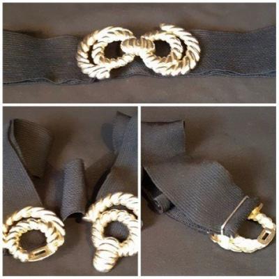 "Black elastic belt, metal clip buckle, adjustable to 38"" waist"