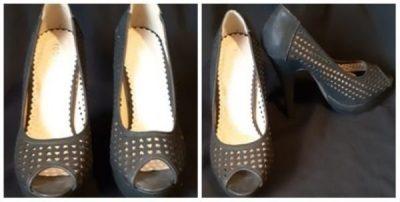 Peep toe high heel, black leather by 'Roberto' size 37